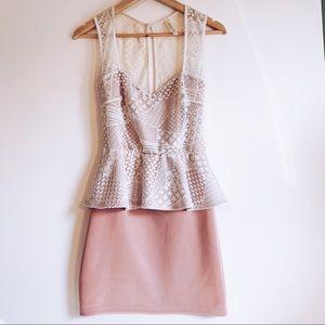 Francesca's Pink & White Lace Dress